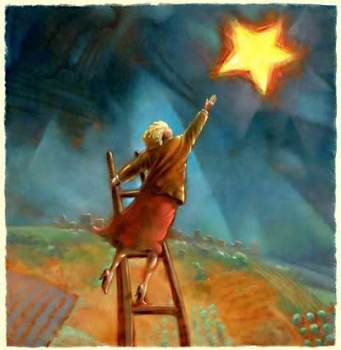 Woman reaching for star