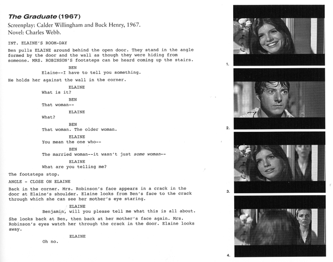 "In this entry featuring The Graduate, the author explains the use of a ""rack-focus""--here, shifting the focal point from one character to another. The author explains, ""Unseen by Elaine, who is still facing Ben, Mrs. Robinson stands in the doorway. Mrs. Robinson is out-of-focus and ghost-like. When Elaine spins around, Mrs. Robinson is pulled into focus, and Elaine is thrown out of focus (Image 4). Every line in Mrs. Robinson's defeated face now shows. After a beat, Mrs. Robinson disappears from the door. When Elaine turns back to Ben, her face remains momentarily blurred, externalizing her confusion. At the moment of recognition, her face is pulled back into focus."