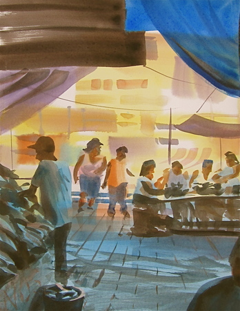 A market in Puerto Rico, painted by Tom Hoffman, provides an illustration of wide dynamic range (note the darks at the top, the lights in the distance),  layering and simple design for optimum impact.