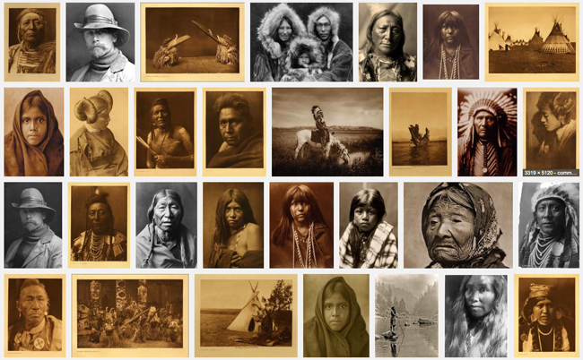 One of the best ways to see the scope of Edward Curtis's work is to simply search his name on Google, and then look at the Images view. That's what I did to capture this sampling of his photographs.