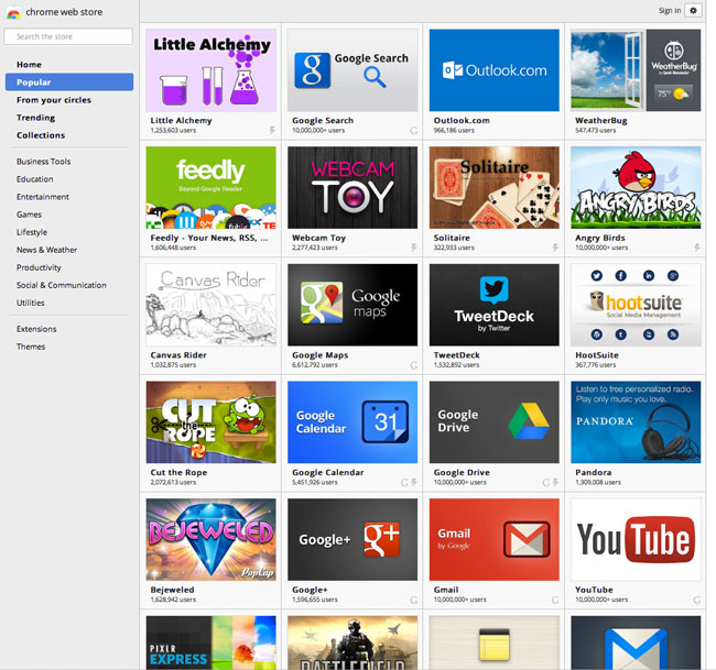 Here's a small sample of the many apps available in the Google Chrome store.