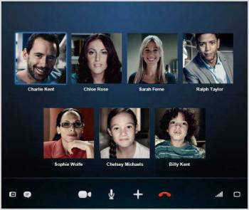 A group video call on Skype.