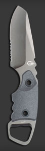 Gerber's Epic: drop pointed, sheathed, and serrated. Very popular.