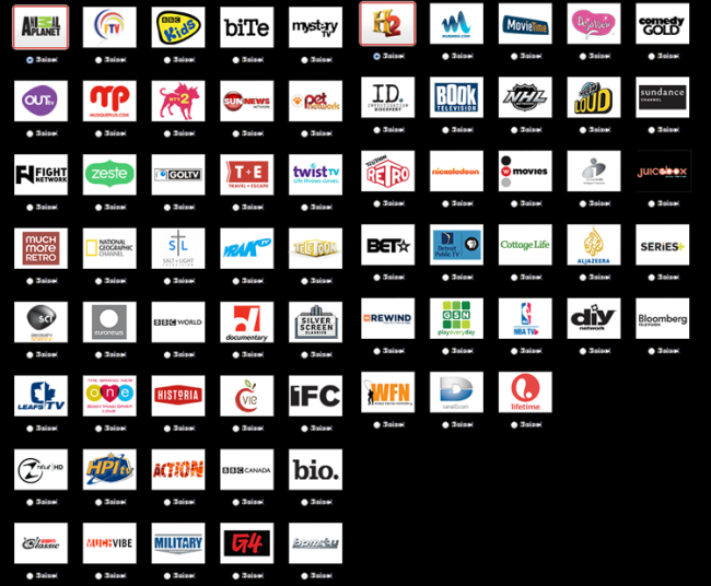 Subscribers to Rogers Cable in Canada can select from these a la carte channels. Most are not big name channels, but once the a la carte habits gains a foothold, the entire cable business may change.