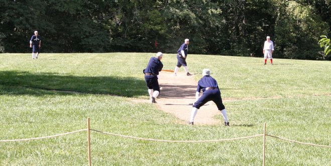"The above image shows a practice with a few members of the 1886 White River Base Ball Club of Conner Prairie Living History Museum. Pictured are, from left to right: ""Thunderbolt,"" ""Digger"" (hitting), ""Hay Wagon"" (pitching), ""Scooter"" (catching), and ""Steamboat."""