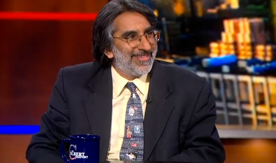 Professor Amar, loose and having a good time as a guest on The Colbert Report last January.