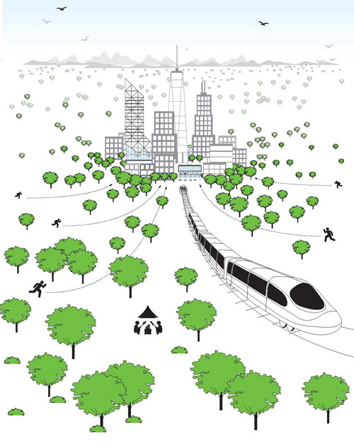 It makes sense to build dense cities, and use trains to move people out of them for recreation. Cities may be our greatest invention. Apparently, suburbs, are among our worst.