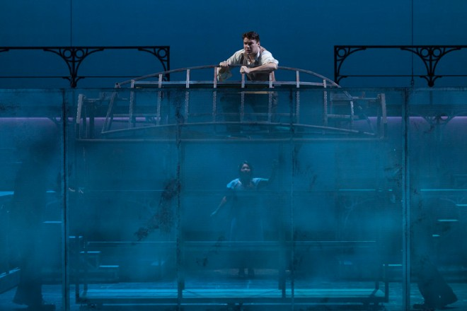 How to stage a death by drowning? With brilliant simplicity and clever use of lighting and materials. This is one reason why I like the Glimmerglass so much—they are clever!