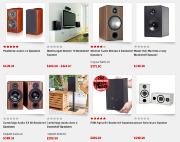 Here's an selection of bookshelf speakers offered by Audio Advisor. In the second row, note the speaker on a speaker stand. And on the top row, note the use of small speakers as part of a home theater setup.